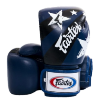 Fairtex bőr boxkesztyű - Nation Print - kék
