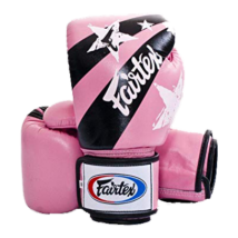 Fairtex bőr boxkesztyű - Nation Print - pink