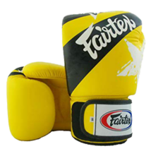 Fairtex bőr boxkesztyű - Nation Print - sárga