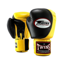 Twins bőr boxkesztyű BGVL-9 - fekete/sárga